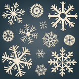 Insieme dei fiocchi di neve da vecchia carta Fotografie Stock