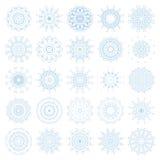 Insieme dei fiocchi di neve decorativi, raccolta dei modelli blu di progettazione di inverno Fotografie Stock Libere da Diritti
