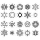 Insieme dei fiocchi di neve differenti di inverno Fotografie Stock