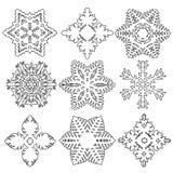 Insieme dei fiocchi di neve differenti trama Immagine Stock