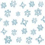 Insieme dei fiocchi di neve disegnati a mano 3D Reticolo senza giunte di natale Illustrazione di vettore illustrazione vettoriale