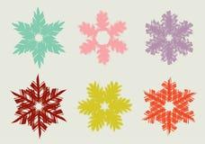 Insieme dei fiocchi di neve disegnati a mano differenti Immagini Stock Libere da Diritti