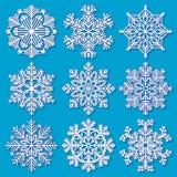 Insieme dei fiocchi di neve geometrici bianchi Fotografie Stock Libere da Diritti