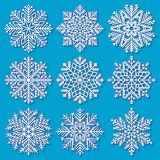 Insieme dei fiocchi di neve geometrici bianchi Immagini Stock Libere da Diritti