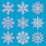 Insieme dei fiocchi di neve geometrici bianchi Fotografia Stock Libera da Diritti
