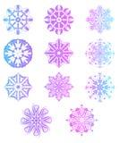 Insieme dei fiocchi di neve isolati su un fondo bianco Fotografia Stock Libera da Diritti