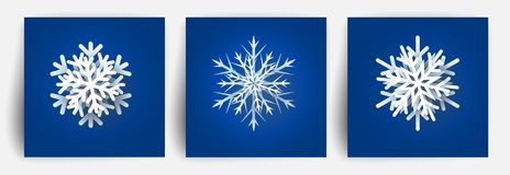 Insieme dei fiocchi di neve di Natale Elementi di carta di progettazione del taglio 3d Fiocco della neve del taglio della carta d illustrazione di stock