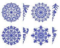 Insieme dei fiocchi di neve per il modello della decorazione e della decorazione per tagliare Fotografia Stock Libera da Diritti
