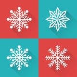 Insieme dei fiocchi di neve semplici piani di inverno Illustrazione di vettore Fotografia Stock