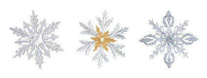 Insieme dei fiocchi di neve trasparenti Fotografia Stock