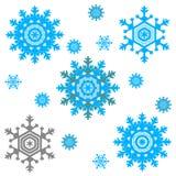 Insieme dei fiocchi di neve di vettore, isolato, illustrazione illustrazione di stock