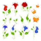 Insieme dei fiori acquerelli e delle farfalle Immagine Stock Libera da Diritti