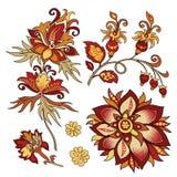 Insieme dei fiori decorativi d'annata con le foglie Fotografie Stock