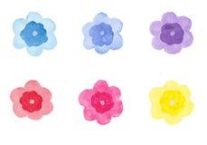 Insieme dei fiori dell'acquerello a mano disegno Immagini Stock Libere da Diritti