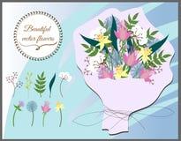 Insieme dei fiori di vettore Bei fiori in un mazzo per le congratulazioni illustrazione vettoriale