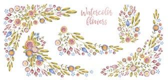 Insieme dei fiori e dei confini dell'acquerello, copertura della carta immagini stock libere da diritti