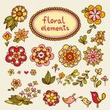 Insieme dei fiori e degli uccelli Fotografia Stock Libera da Diritti