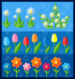 Insieme dei fiori piani Immagini Stock
