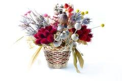 Insieme dei fiori secchi in mazzo su fondo bianco fotografia stock