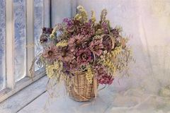 Insieme dei fiori secchi in un mazzo immagine stock