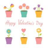 Insieme dei fiori in vasi. Carta felice di giorno di biglietti di S. Valentino. Immagine Stock