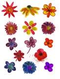 Insieme dei fiori verniciati in acquerello Immagini Stock Libere da Diritti