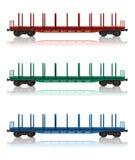 Insieme dei flatcars della ferrovia Immagini Stock Libere da Diritti