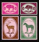 Insieme dei francobolli di vettore con il verro, bisonte, cervo, cavallo Immagine Stock