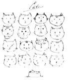 Insieme dei fronti dei gatti dell'inchiostro, a mano libera disegnato con la tintura liquida, emozionale, divertente, funky, isol Fotografia Stock