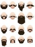 Insieme dei fronti del mens con le barbe ed i baffi illustrazione vettoriale