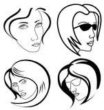 Insieme dei fronti della donna illustrazione di stock