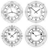 Insieme dei fronti di orologio decorati differenti Immagini Stock