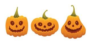 Insieme dei fronti divertenti della zucca per Halloween Immagini Stock