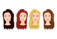 Insieme dei fronti femminili con colore differente di bella giovane donna dei capelli isolata su fondo bianco illustrazione vettoriale