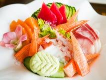 Insieme dei frutti di mare del sashimi Fotografie Stock Libere da Diritti