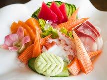 Insieme dei frutti di mare del sashimi Fotografia Stock