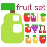 Insieme dei frutti e delle bacche stilizzati Immagini Stock Libere da Diritti