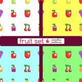Insieme dei frutti e delle bacche stilizzati Fotografie Stock