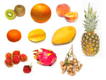 Insieme dei frutti esotici freschi Immagini Stock