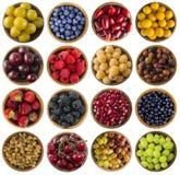 Insieme dei frutti freschi e delle bacche di estate isolati su bianco Collage dei frutti differenti di colori e bacche su un fond Fotografia Stock
