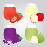 Insieme dei frutti Juice Glass su fondo Fotografie Stock Libere da Diritti