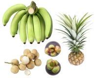 Insieme dei frutti tropicali isolato su fondo bianco Banana, lan Fotografia Stock