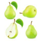 Insieme dei frutti verdi della pera Fotografia Stock
