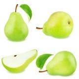 Insieme dei frutti verdi della pera Fotografie Stock Libere da Diritti