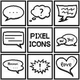Insieme dei fumetti del pixel e dei palloni di dialogo Immagini Stock
