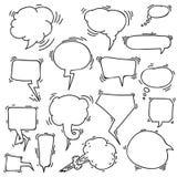 Insieme dei fumetti disegnati a mano imprecisi Illustrazione di vettore Isolato su priorità bassa bianca Illustrazione di disegno Fotografia Stock