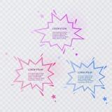 Insieme dei fumetti variopinti con le ombre di semitono su fondo trasparente Illustrazione di vettore illustrazione di stock