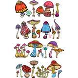 Insieme dei funghi stilizzati illustrazione di stock