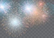 Insieme dei fuochi d'artificio isolati di vettore su un fondo trasparente illustrazione vettoriale