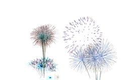Insieme dei fuochi d'artificio isolati sul contesto bianco Fotografia Stock Libera da Diritti